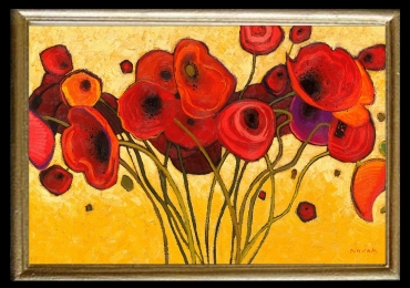 Tablou cu maci, Tablou cu tema abstracta, tablou inmpresionist, tablou sufragerie, tablou dimensiune mare, tablou cu flori rosii