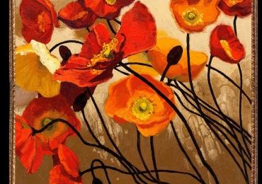 Tablou cu maci Tablou cu tema abstracta, tablou inmpresionist, tablou sufragerie, tablou dimensiune mare, tablou flori