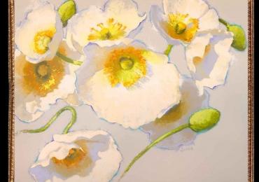Tablou cu maci albi,Tablou cu tema abstracta, tablou inmpresionist, tablou sufragerie, tablou dimensiune mare, tablou cu flori de camp