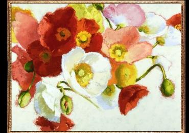 Tablou cu maci rosii si albi,Tablou cu tema abstracta, tablou inmpresionist, tablou sufragerie, tablou dimensiune mare, tablou cu flori