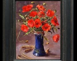 Tablou cu maci si spice de grau in vaza albastru de cobalt, tablou cu buchet de flori, tablouri cu aranjamente florale, picturi florale