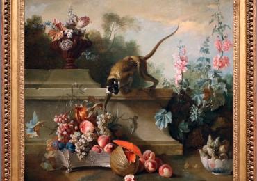 Tablou cu maimuta flori si fructe tablou matura moarta, tablou cu animale salbatice, t