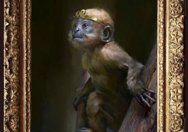 Tablou cu maimuta, tablou cu animale salbatice, tablouri cu animale pictate, tablouri