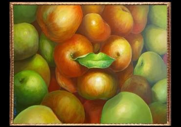 Tablou cu mere, , Tablou cu tema abstracta, tablou pentru birou, tablou sufragerie, tablou dimensiune mare, tablou cu fructe