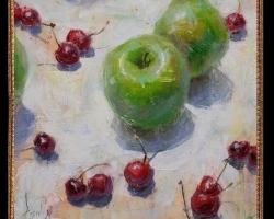 Tablou cu mere verzi si cirese, Tablou cu tema abstracta, tablou inmpresionist, tablou sufragerie, tablou dimensiune mare, tablou cu fructe