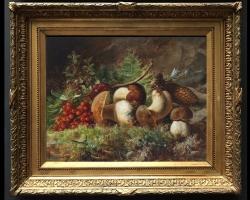 Tablou cu natura moart, tablou cu ciuperci si fructe
