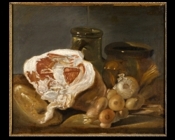 Tablou cu natura moarta French Still Life with Ham and Onions