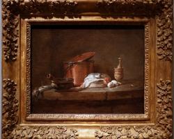 Tablou cu natura moarta Jean Siméon chardin, utensili da cucina con porro, pesce e uova, 1734