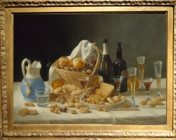 Tablou cu natura moarta John F. Francis Still Life with Wine Bottles and Basket of Fruit