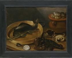 Tablou cu natura moarta Kitchen Still Life with a Carp and Shellfish