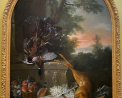 Tablou cu natura moarta Still life with Game in a Landscape by Jean Baptiste Oudry