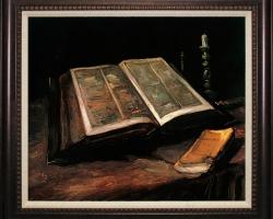 Tablou cu natura moarta cu carti, Pictor celebru Van Gogh-Limited Edition-Still Life with Bible