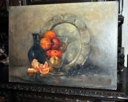Tablou cu natura moarta, fructe si vesela