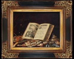 Tablou cu natura moarta, tablou cu carte si carti de tarot