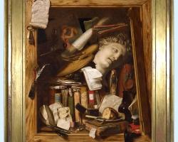 Tablou cu natura moarta, tablou cu carti, CHARLES BIRD KING , The Vanity of the Artist's Dream, 1830