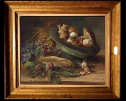 Tablou cu natura moarta, tablou cu ciuperci si peste proaspat pescuit