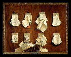 Tablou cu natura moarta, tablou cu scrisori, Cornelis Brizé  Treasurers papers and documents