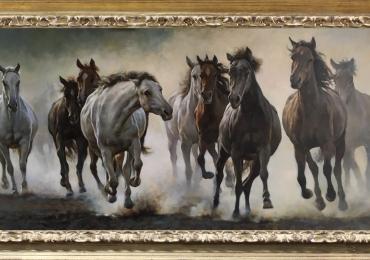 Tablou cu noua cai alergand, tablou modern, tablou dimensiune mare, tablou cu anim