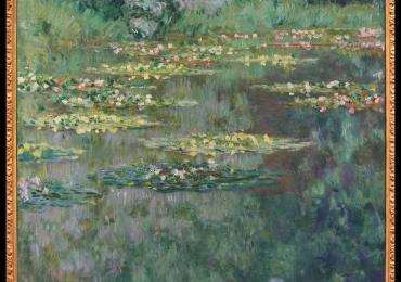 Tablou cu nuferi dimensiune mare, tablou cu flori,Il laghetto delle ninfee, Claude Monet Tablou cu tema abstracta, tablou inmpresionist, tablou sufragerie