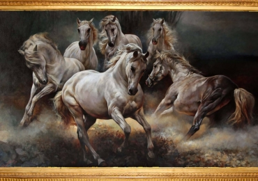 Tablou cu opt cai, tablou modern de sufragerie, tablou dimensiune mare, tablou cu an