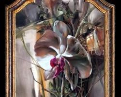Tablou cu orhidee, Tablou abstract, tablou modern, tablou sufragerie, tablou dimensiune mare, tablou cu flori