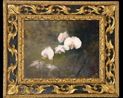 Tablou cu orhidee albe, Tablou cu tema abstracta, tablou inmpresionist, tablou sufragerie, tablou dimensiune mare, tablou cu flori