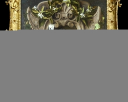 Tablou cu ornament in jurul unui bust sculptat si flori, tablou natura moarta