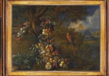 Tablou cu papagal si fructe, natura moarta, tablou cu animale salbatice, tablouri cu an