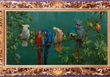 Tablou cu papagali exotici multicolori, tablou cu animale salbatice, tablouri cu anima