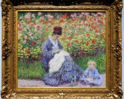 Tablou cu parc, tablou cu flori, peisaj din natura, tablou cu femeie in peisaj de vara, Monet Camille Monet con un bambino in giardino, , Tablou cu peisaj de vara