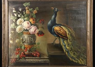 Tablou cu paun si buchet de flori, tablou natura moarta, tablou cu animale salbatice, t