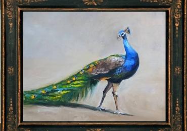 Tablou cu paun, tablou cu animale salbatice, tablouri cu animale pictate, tablouri cu a