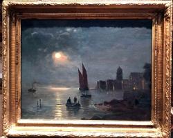 Tablou cu peisaj Venetian, tablou cu gondole, tablou cu vapoare, tablou nautic, Venetian view of at night time