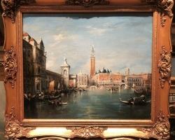 Tablou cu peisaj Venetian, tablou cu gondole, tablou cu vapoare, tablou nautic, tablou cu canale Venetiene, tablou cladiri din Venetia