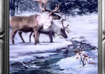 Tablou cu peisaj de iara si cu cerbi adapandu-se la un rau, tablou cu animale salbatice