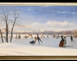 Tablou cu peisaj de iarna, tablou cu oameni la patinaj, tablou cu patinuar natural, peisaj din natura, Conrad Wise Chapman