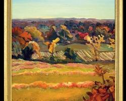 Tablou cu peisaj de toama, tablou cu peisaj abstract, tablou multicolor, tablou dimensiune mare