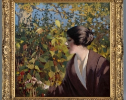 Tablou cu peisaj de toamna, tablou cu femeie in gradina, tablou cu frunze ruginite, tablouri living, picturi in ulei pe panza, picturi cu peisaje