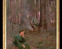 Tablou cu peisaj de toamna, tablou cu oameni in padure, Frederick McCubbin, tablouri living, picturi in ulei pe panza, picturi cu peisaje