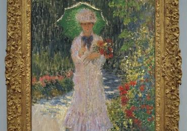 Tablou cu peisaj de vara, tablou cu parc, tablou cu flori, peisaj din natura, tablou cu femeie in peisaj de vara, Monet Camille con l'ombrello verde