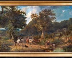 Tablou cu peisaj de vara, tablou cu rau langa padure, peisaj din natura, tablou cu vaci la abapat