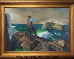 Tablou cu peisaj marin, tablou cu mare, tablou cu pescar, GEORGE BELLOWS , The Fisherman, 1917,
