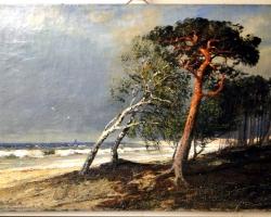 Tablou cu peisaj marin, tablou nautic, tablou cu malul marii, tablou faleza cu arbori, tablou cu furtuna