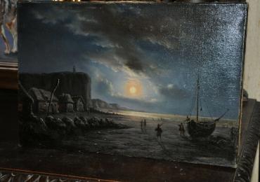 Tablou cu peisaj marin, tablou peisaj cu clar de luna, tablou cu barca la faleza marii, tablou peisaj de vara cu femei in gradina, Tablouri Celebre