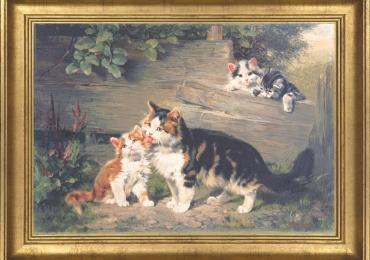 Tablou cu peisaj pastoral cu pisici, tablou cu animale salbatice, tablouri cu animale pi
