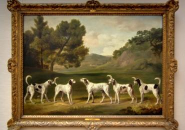 Tablou cu peisaj pastoral si caini de vanatoare, tablou cu animale salbatice, tablouri c