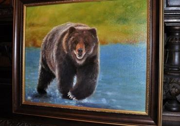 Tablou cu peisaj si urs la vanatoare de pesti, tablou cu animale salbatice, tablouri cu a