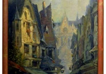 Tablou cu peisaj urban, Oil on Canvas Merchant Street Scene, Rouen, France, peisaj de toaman, tablou cu strazi populate de oameni, tablou strazi cu cladiri