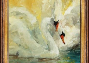 Tablou cu pereche de lebede, tablou cu animale salbatice, tablouri cu animale pictate,