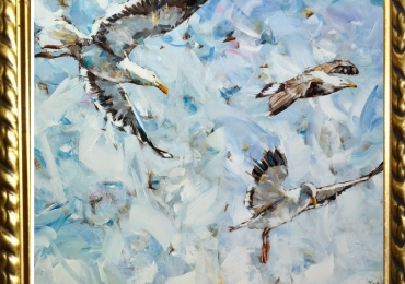 Tablou cu pescarusi in zbor, tablou abstract dimensiune mare, tablou cu animale salb